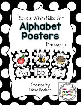 Alphabet Posters - Full Page {Black & White Polka Dot}