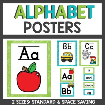 Alphabet Posters in Lime and Teal with Word Wall