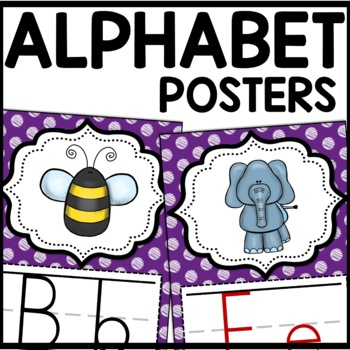 Alphabet Posters MIX AND MATCH (PURPLE Scribble)