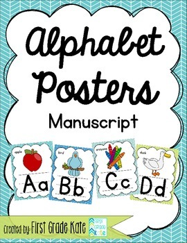 Manuscript Alphabet Posters for Classroom Decor (Green, Te