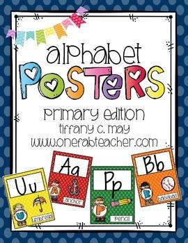 Alphabet Posters Melonheadz Style (primary colors)