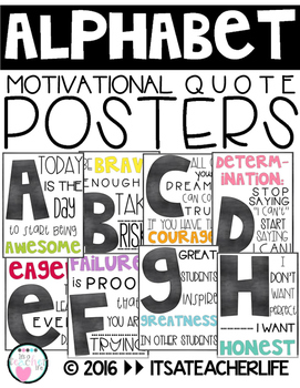 Alphabet Posters | Motivational Quotes | Chalkboard, White