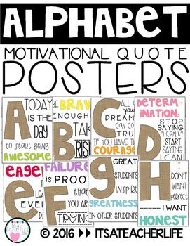 Alphabet Posters | Motivational Quotes | Burlap, White & B