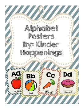 Alphabet Posters Multicolor Stripes