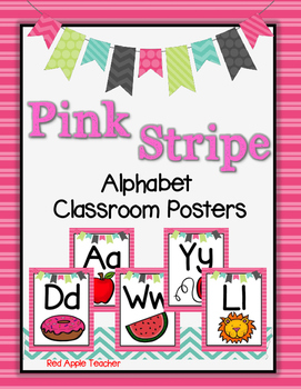 Alphabet Posters-- Pink Stripe Pattern