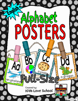 Alphabet Posters-Polka Dots-ENGLISH Version with Picture a
