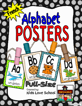 Alphabet Posters-Polka Dots-FRENCH Version with Picture /W
