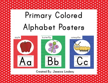 Alphabet Posters - Primary Colored Polka Dots
