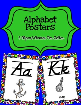Alphabet Posters D'Nealian {Lined with Polka-Dot Background)