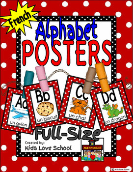 Alphabet Posters-RED Polka Dots-FRENCH- with Picture/Words