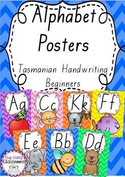 Alphabet Posters Rainbow Chevron - Tasmanian Handwriting B