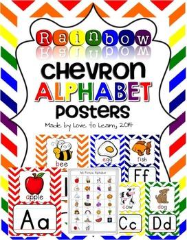 Alphabet Posters - Rainbow Chevron