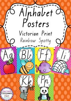 Alphabet Posters Rainbow Spotty - Victorian Modern Cursive Print