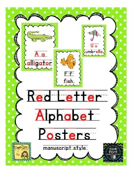 Alphabet Posters - Red Letter Vowels!