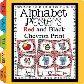 Alphabet Posters Red and Black Chevron