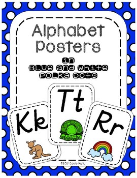 Alphabet Posters - Royal Blue and White Polka Dots - Italics