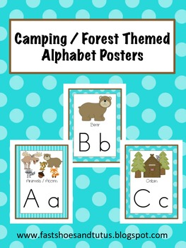 Alphabet Posters Set - Camping / Forest / Woodland Themed
