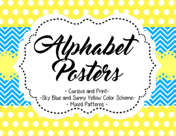 Alphabet Posters - Sky Blue and Sunny Yellow Color Scheme