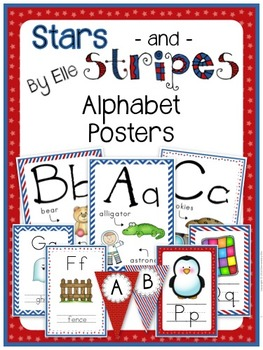 Alphabet Posters - Stars and Stripes Theme {Red, White, and Blue}