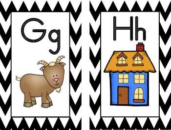 Alphabet Posters, Word Wall Cards, Flashcards  (Chevron,Ze