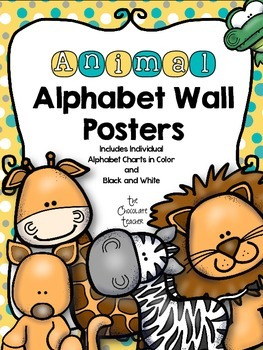 Alphabet Posters Yellow, Aqua, Gray