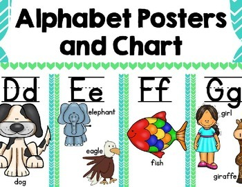 Alphabet Posters and Chart {Blue and Green Chevron)
