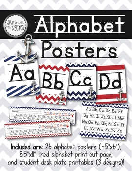 Alphabet Posters and Desk Strips (Nautical Anchors)