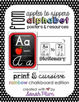Alphabet Posters and Resources {Print & Cursive, Rainbow C