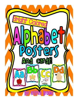 Alphabet Posters and Word Cards with Pictures (Bright Colors)