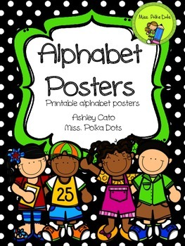 Alphabet Posters in Black and Green Polka Dots