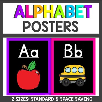 Bright Neon Alphabet Posters with Word Wall