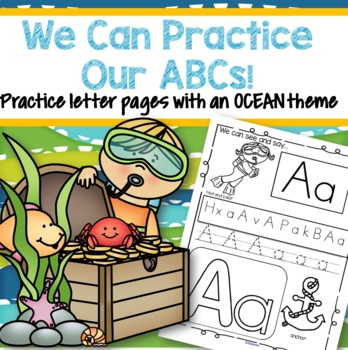 OCEAN Alphabet Practice Printables - Recognition, Tracing