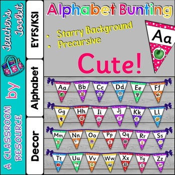 Alphabet Precursive Font Bunting Kit Classroom Decor