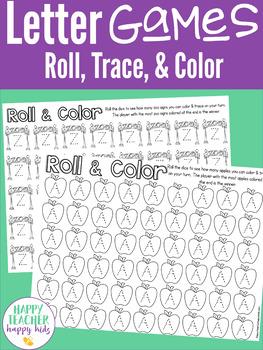 Alphabet Preschool Kindergarten: Roll, Trace, & Color Games