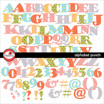 Alphabet Punch Digital Clipart Letters and Numbers by Poppydreamz
