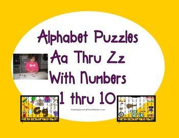 Alphabet Puzzles Aa Thur Zz Numbers 1 Thru 10