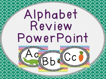Alphabet Review PowerPoint in Teal
