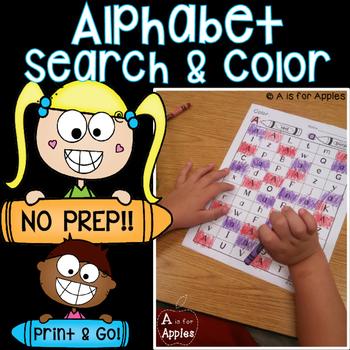 Alphabet Search and Color {No Prep - Print and GO!}