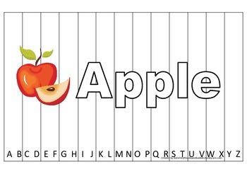 Alphabet Sequence Spelling Puzzle.  Spell Apple. Preschool