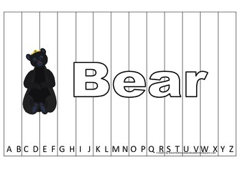 Alphabet Sequence Spelling Puzzle.  Spell Bear. Preschool