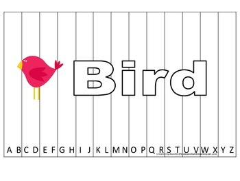 Alphabet Sequence Spelling Puzzle.  Spell Bird. Preschool