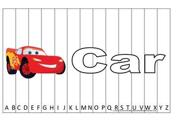 Alphabet Sequence Spelling Puzzle.  Spell Car. Preschool l