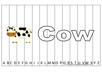 Alphabet Sequence Spelling Puzzle.  Spell Cow. Preschool l
