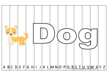 Alphabet Sequence Spelling Puzzle.  Spell Dog. Preschool l