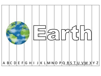 Alphabet Sequence Spelling Puzzle.  Spell Earth. Preschool