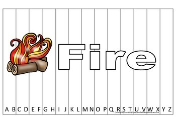 Alphabet Sequence Spelling Puzzle.  Spell Fire. Preschool
