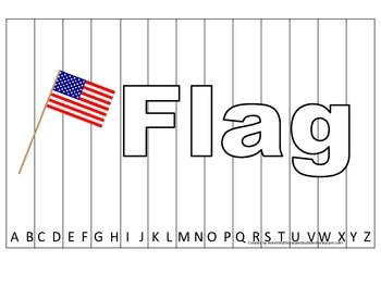Alphabet Sequence Spelling Puzzle.  Spell Flag. Preschool