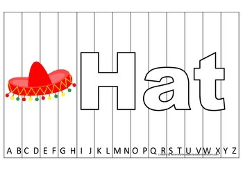 Alphabet Sequence Spelling Puzzle.  Spell Hat. Preschool l