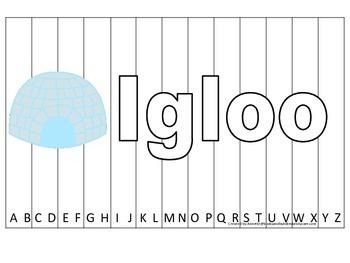 Alphabet Sequence Spelling Puzzle.  Spell Igloo. Preschool