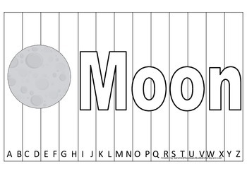 Alphabet Sequence Spelling Puzzle.  Spell Moon. Preschool
